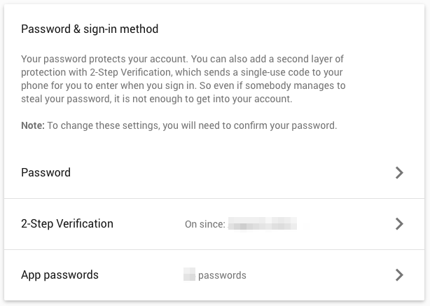 Sign In Method - App Passwords