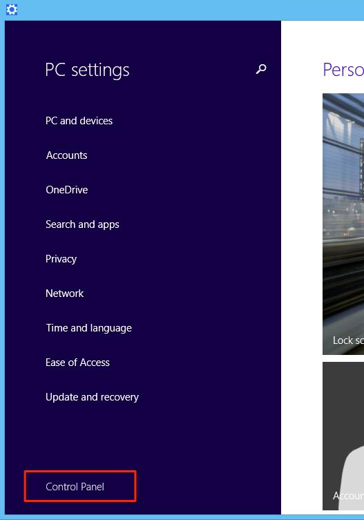 Windows 8.x Control Panel