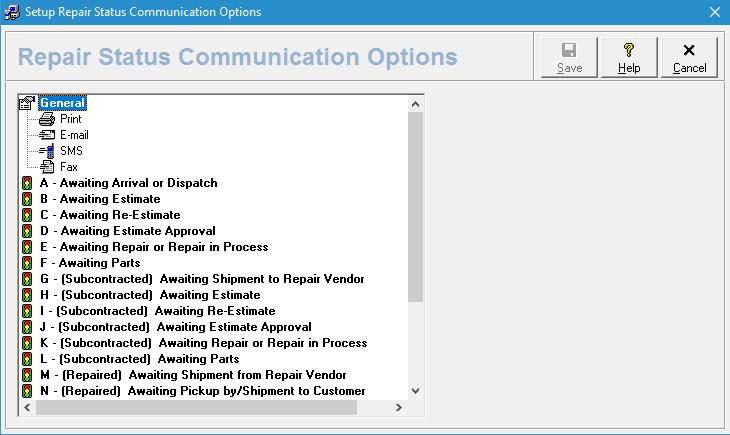 Repair Status Communication Options Screen
