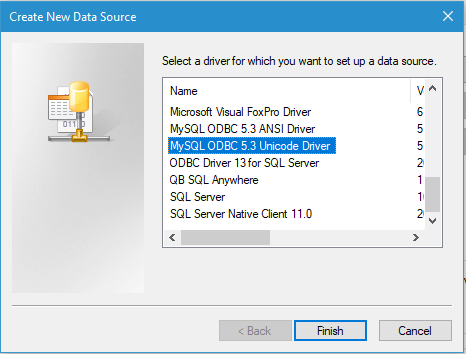Create New Data Source - MySQL ODBC driver