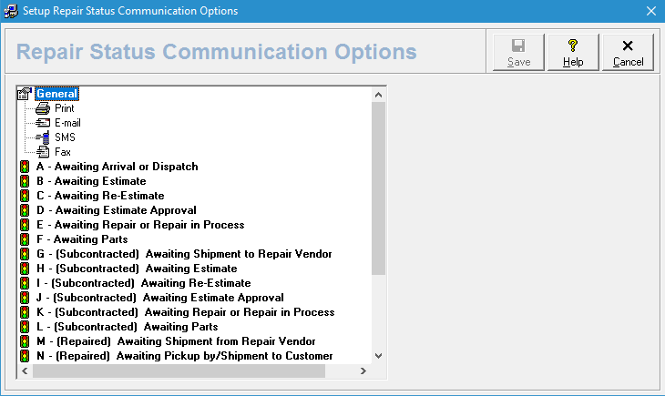 Repair Status Communication Options Screen