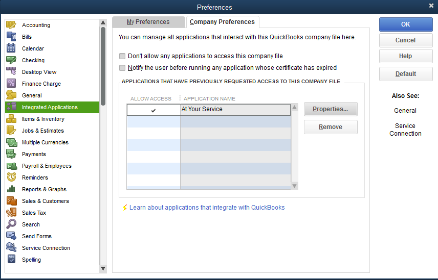 QuickBooks Application Security Settings