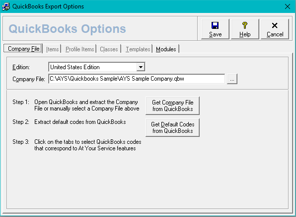 Quickbooks Options Form