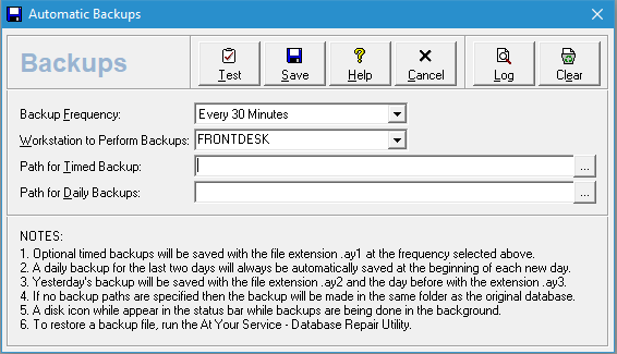 Automatic backup options - frequency, workstation performing backups and destination paths for backup files