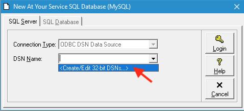 Create/Edit 32-bit DSNs