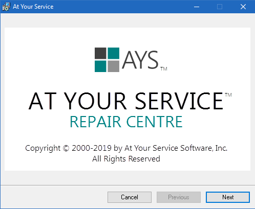 AYS installation screen